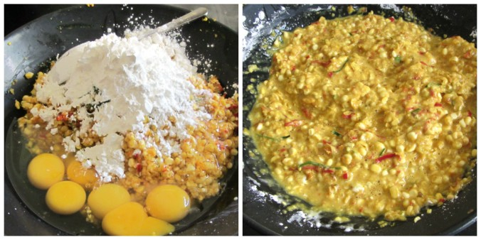 corn fritters collage
